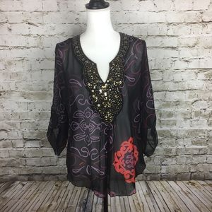 Hale Bob Silk blouse with jewel embellishments